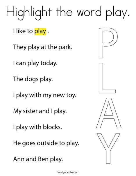 Highlight the word play. Coloring Page