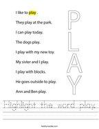 Highlight the word play Handwriting Sheet