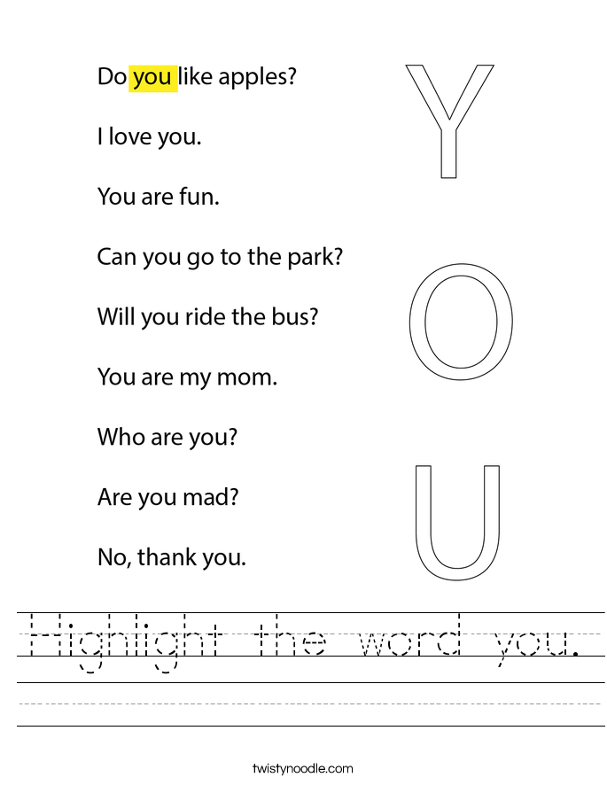 Highlight the word you. Worksheet