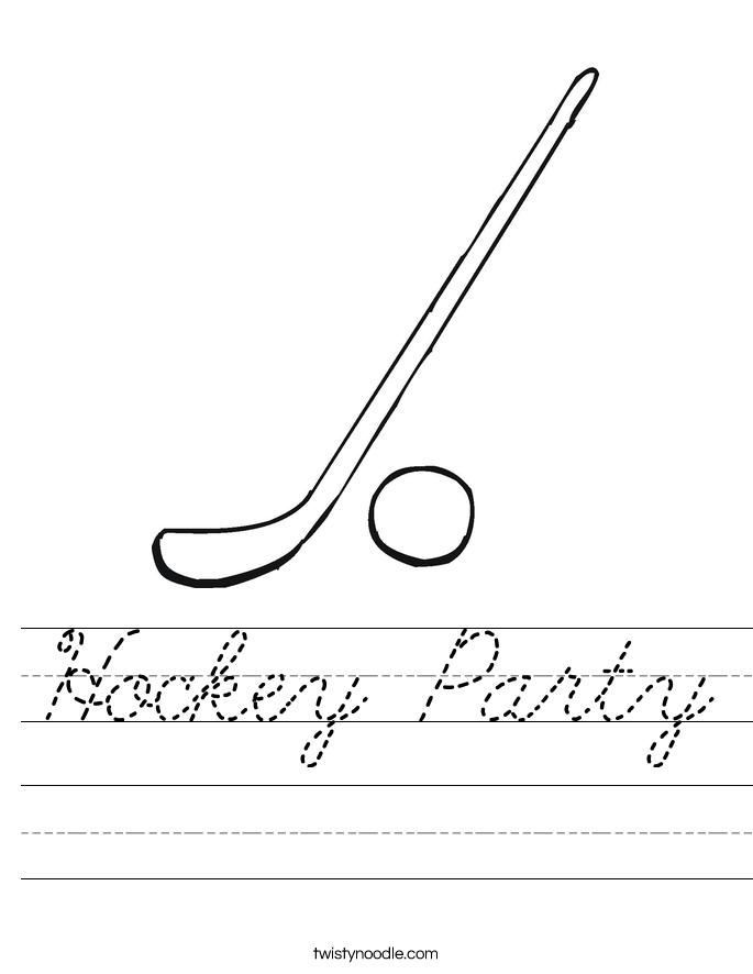 Hockey Party Worksheet