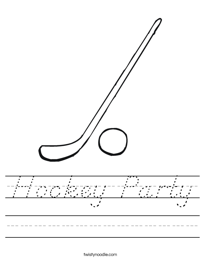 Hockey Party Worksheet