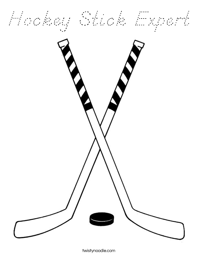 Hockey Stick Expert Coloring Page