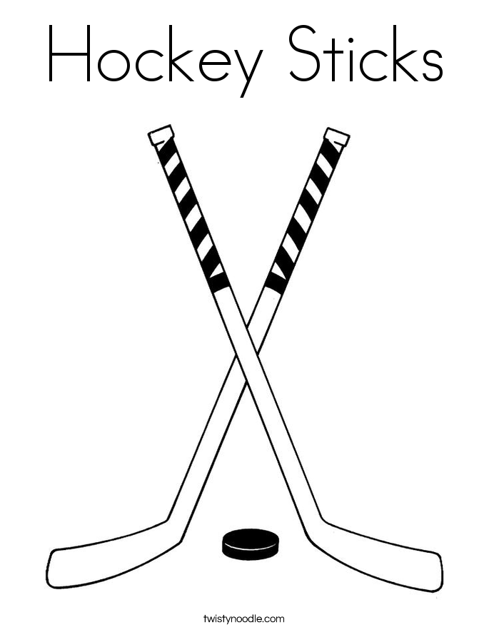 Hockey Stick And Puck Coloring