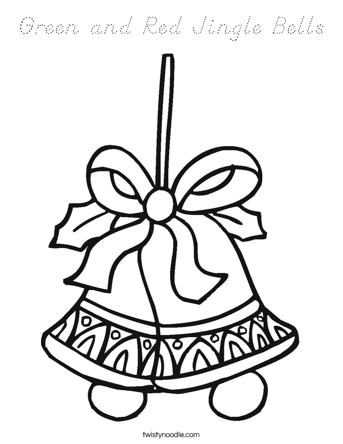 Green and Red Jingle Bells Coloring Page