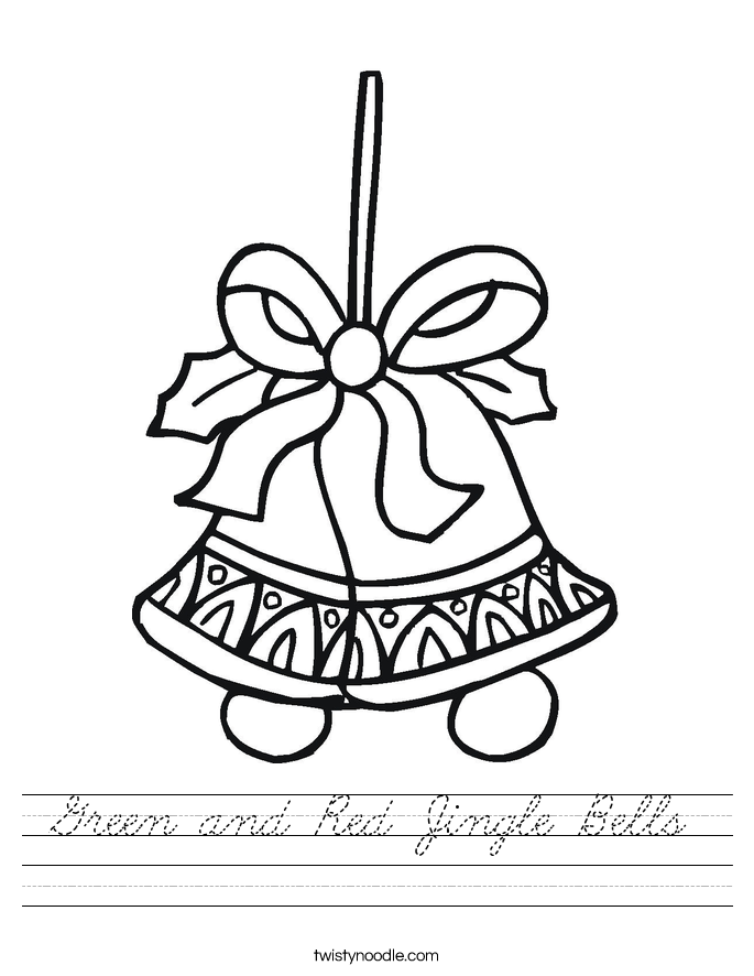 Green and Red Jingle Bells Worksheet