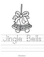 Jingle Bells Handwriting Sheet