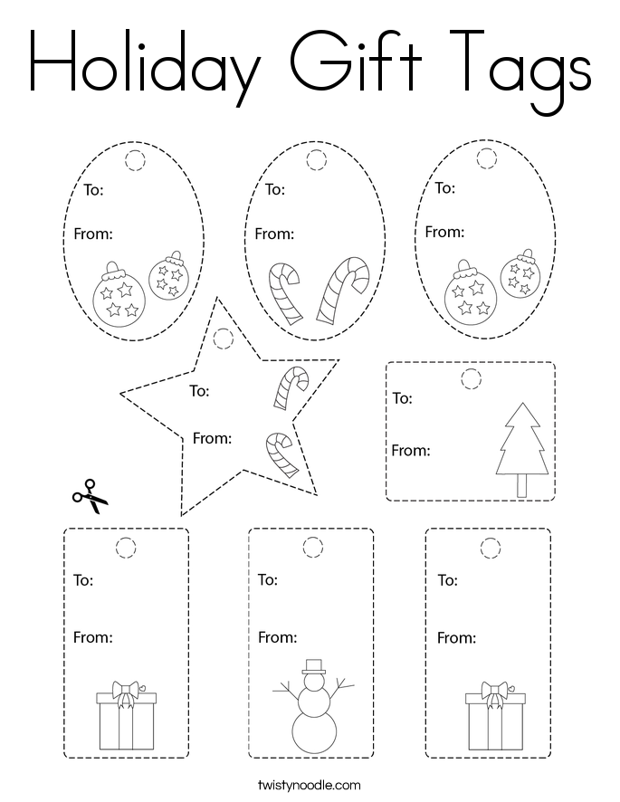 Holiday Gift Tags Coloring Page