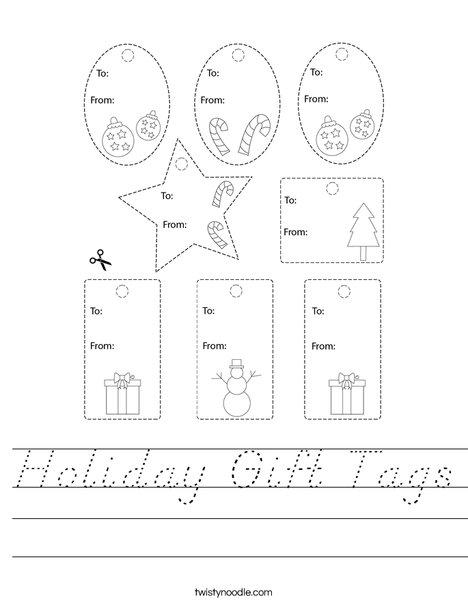 Holiday Gift Tags Worksheet