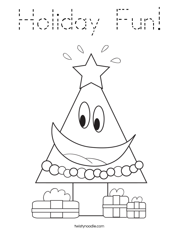 Holiday Fun Coloring Page - Tracing - Twisty Noodle