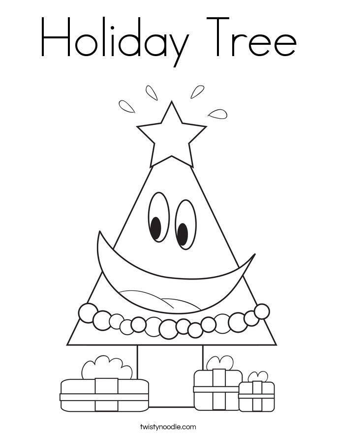 Holiday tree coloring page twisty noodle for Twisty noodle coloring pages