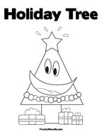 Holiday Tree Coloring Page