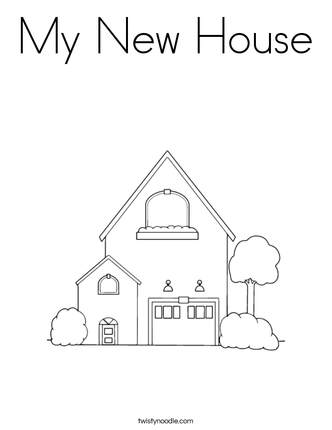 House Coloring Page Interesting My New House Coloring Page  Twisty Noodle Design Ideas
