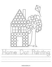 Home Dot Painting Handwriting Sheet