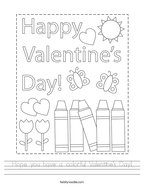 Hope you have a colorful Valentine's Day Handwriting Sheet