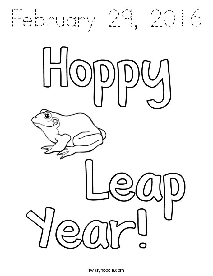 February 29, 2016 Coloring Page