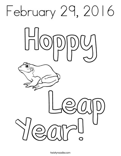 Hoppy Leap Year Coloring Page