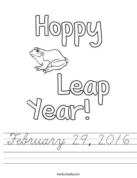 Hoppy Leap Year Worksheet
