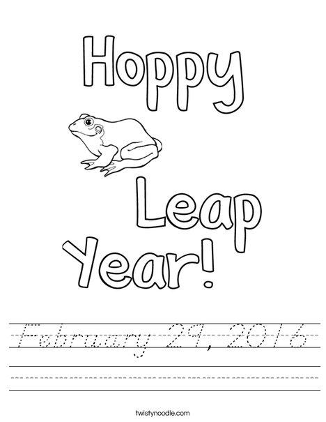 Hoppy Leap Year Worksheet