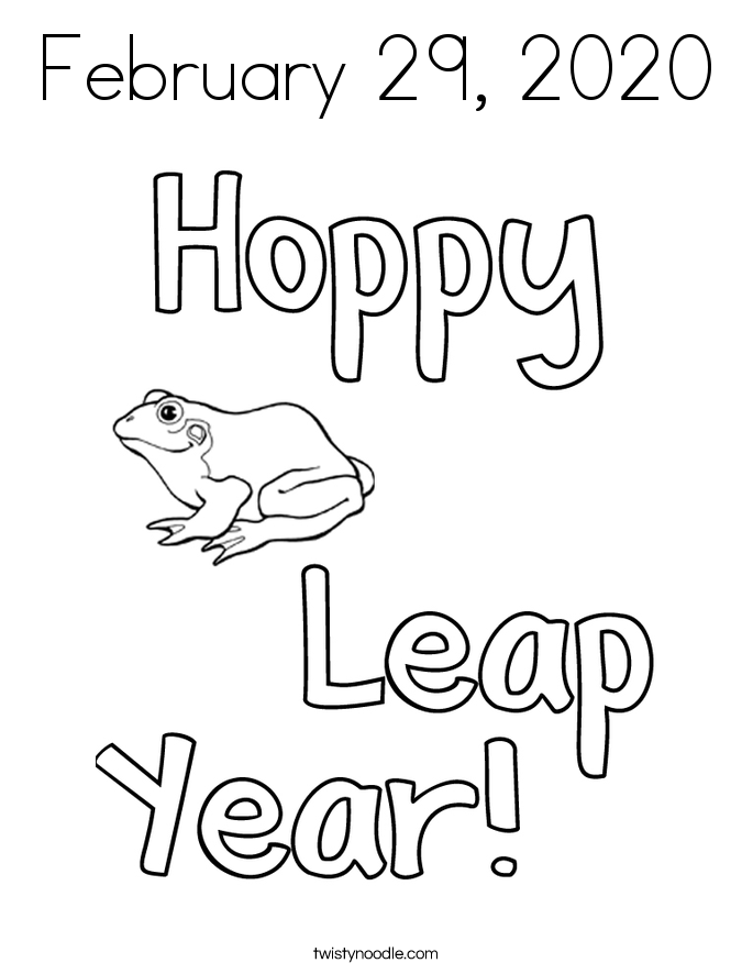February 29, 2020 Coloring Page