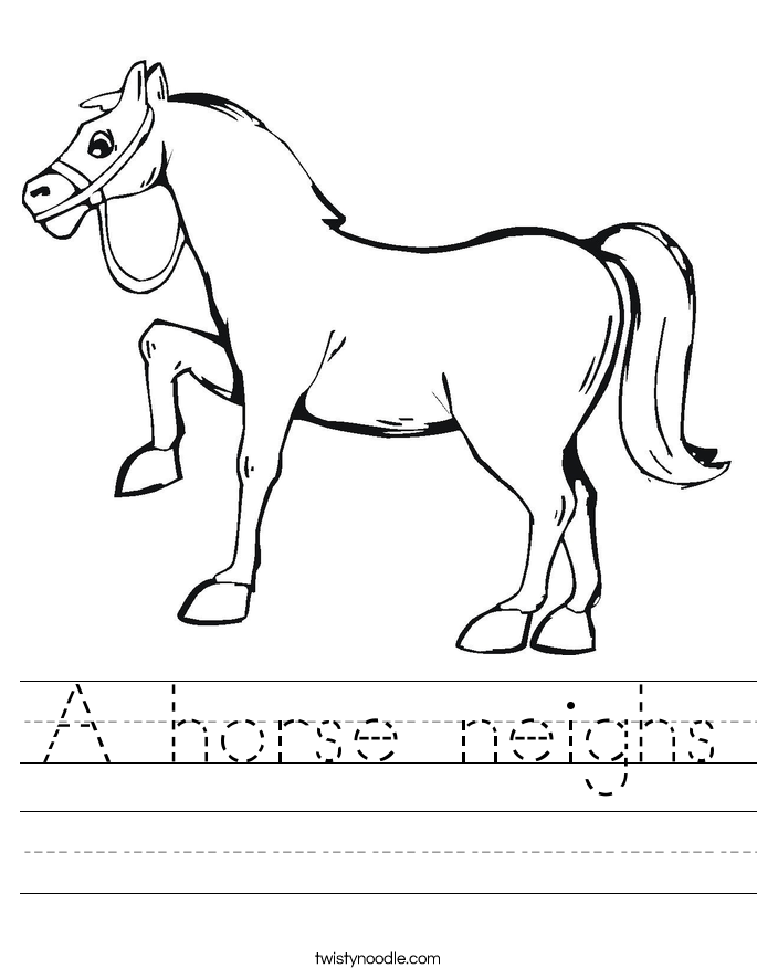 A horse neighs Worksheet