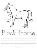 Black Horse Handwriting Sheet