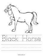 Black Horse Handwriting Sheet