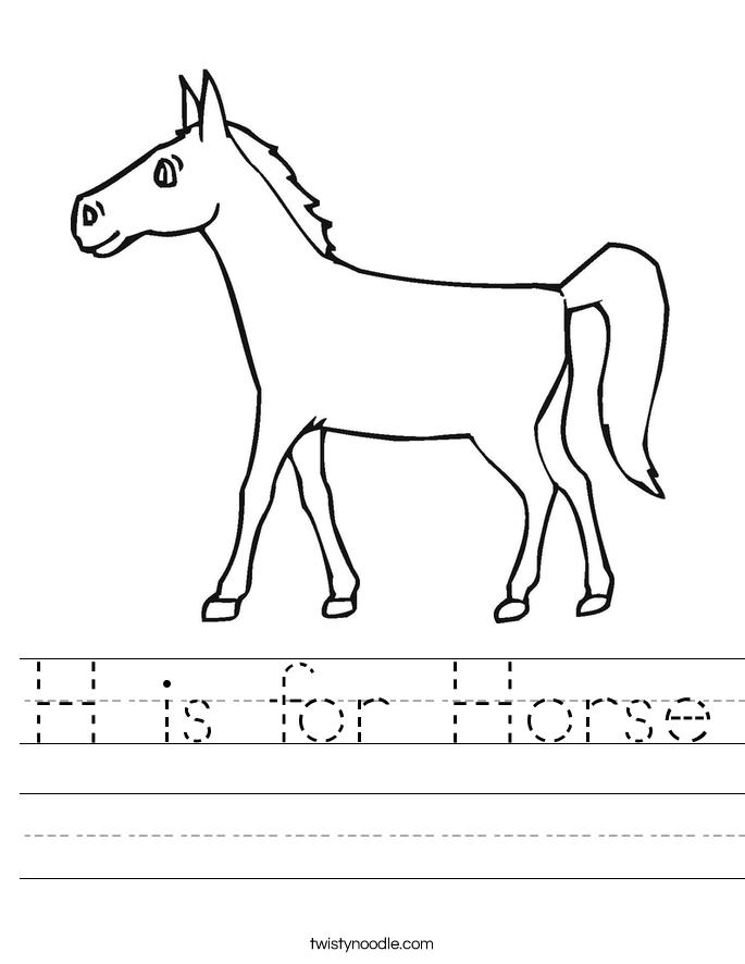H Is For Horse Worksheet Twisty Noodle