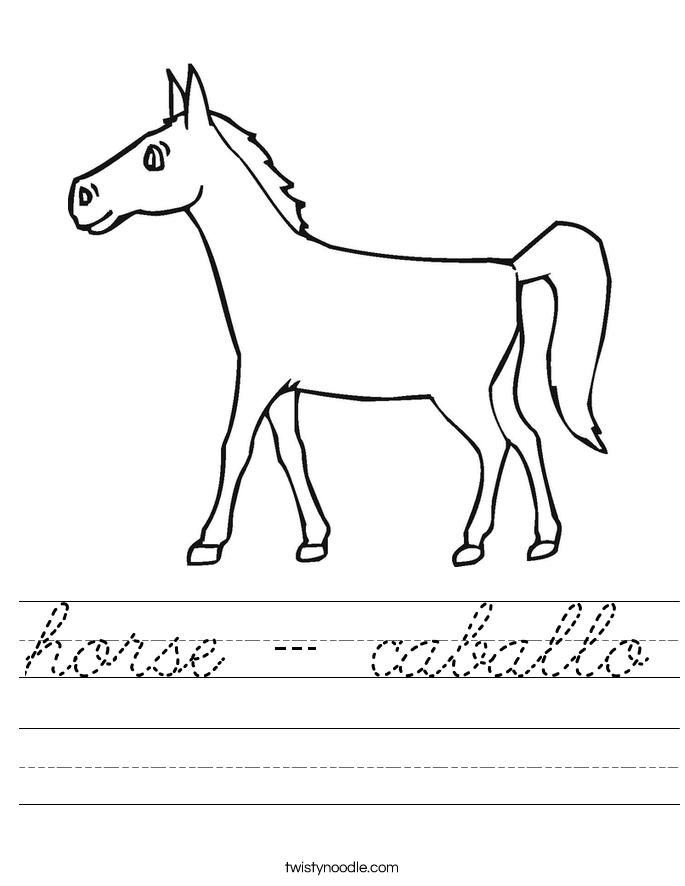 horse - caballo Worksheet