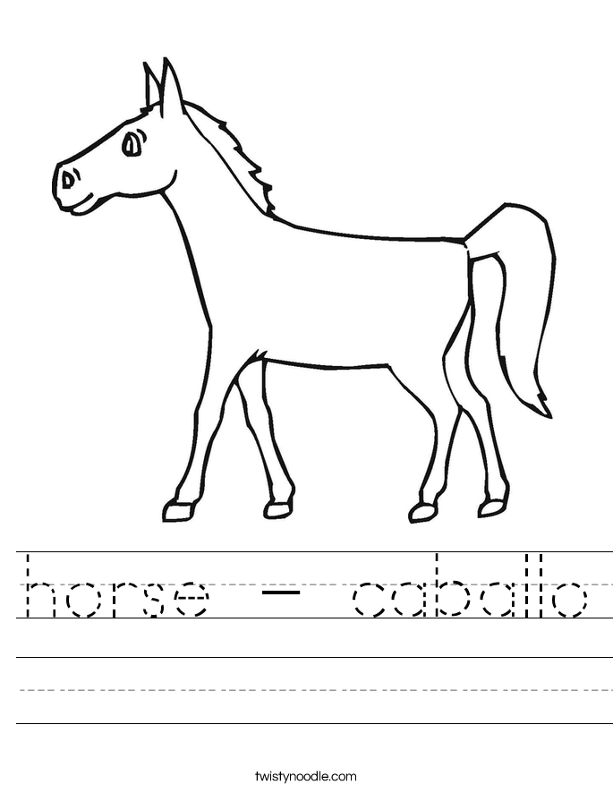 horse - caballo Worksheet