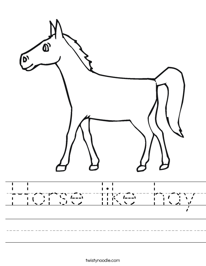 Horse like hay Worksheet