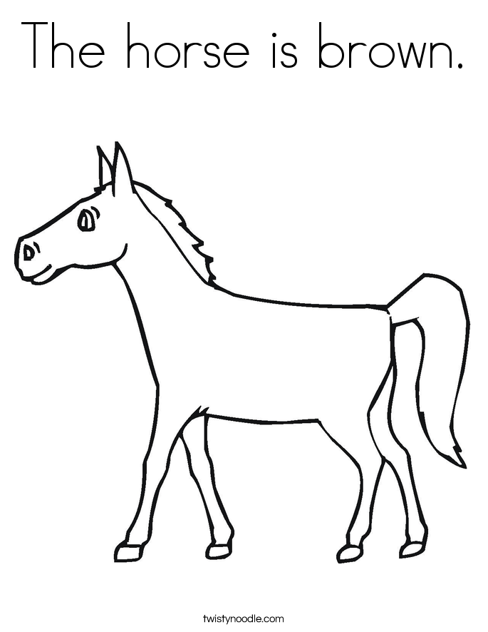The horse is brown. Coloring Page