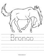 Bronco Handwriting Sheet
