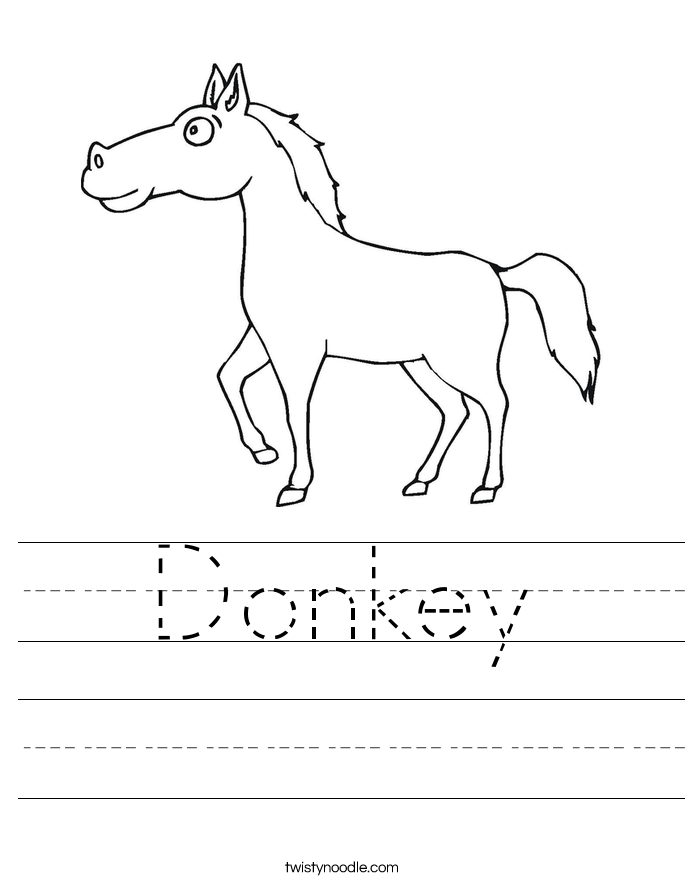 Donkey Worksheet Twisty Noodle – Vertebrate Worksheet