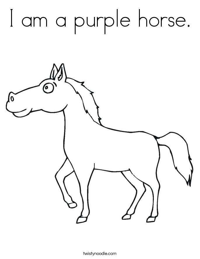 I am a purple horse. Coloring Page
