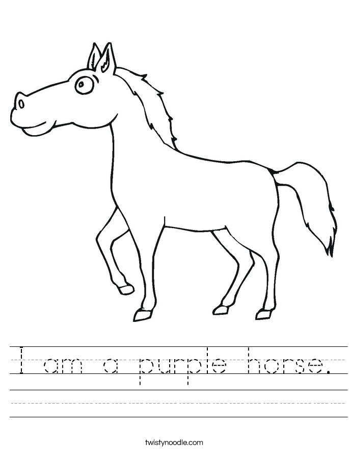 I am a purple horse. Worksheet