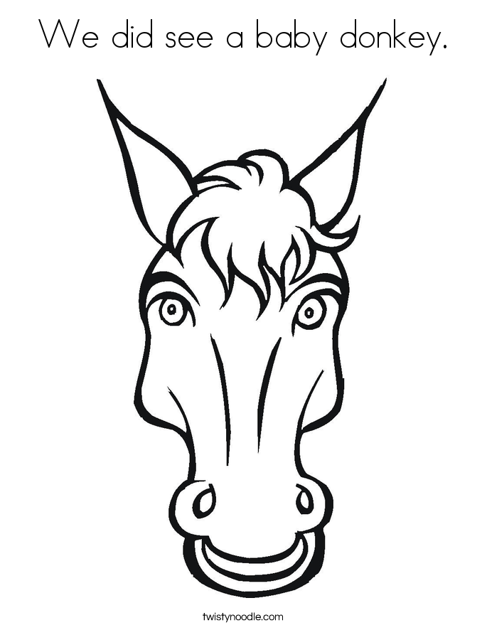 We did see a baby donkey. Coloring Page