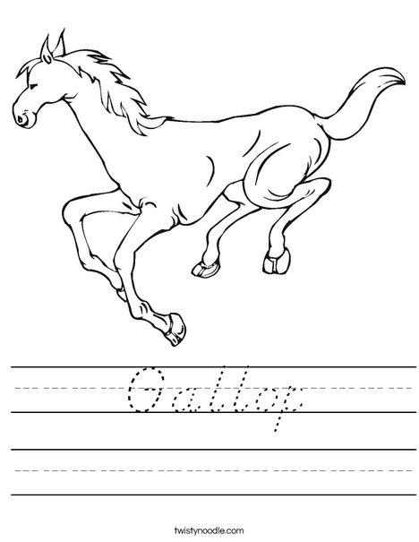 Horse Running Worksheet