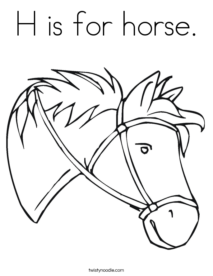 H is for horse Coloring Page Twisty Noodle