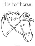 H is for horse.Coloring Page