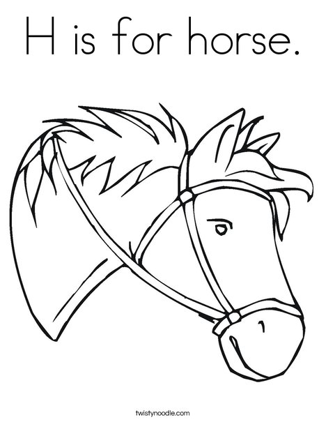 H is for horse Coloring Page - Twisty Noodle