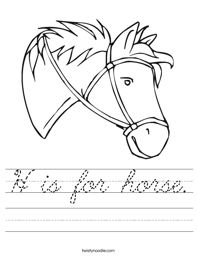 H is for horse. Worksheet