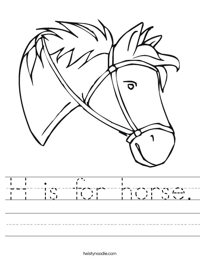 is for horse Worksheet - Twisty Noodle