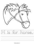 H is for horse Handwriting Sheet