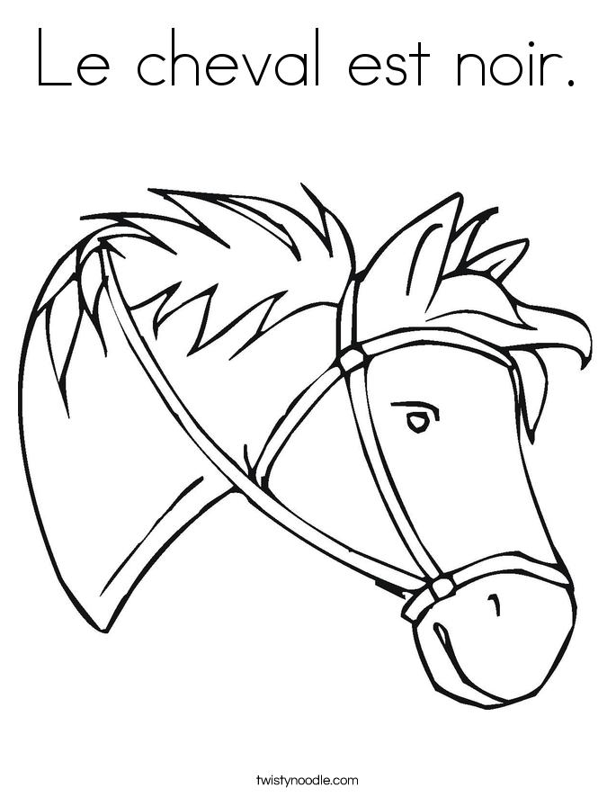 Le cheval est noir. Coloring Page