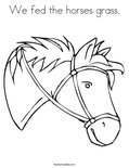 We fed the horses grass.Coloring Page