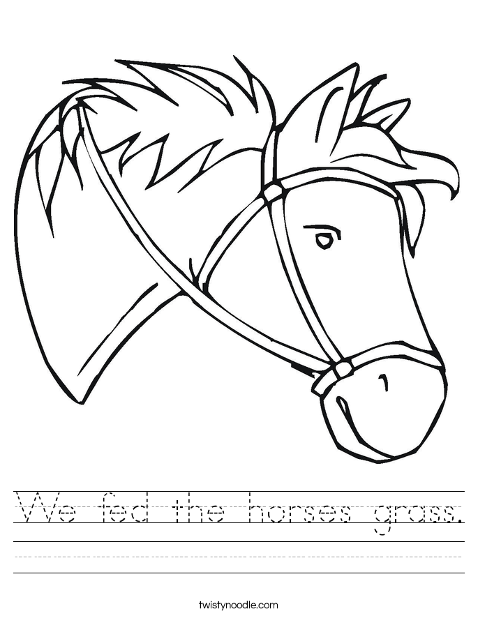 We fed the horses grass. Worksheet