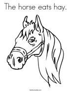 The horse eats hay Coloring Page