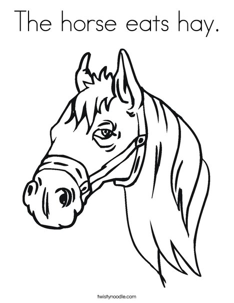 The Horse Eats Hay Coloring Page Twisty Noodle