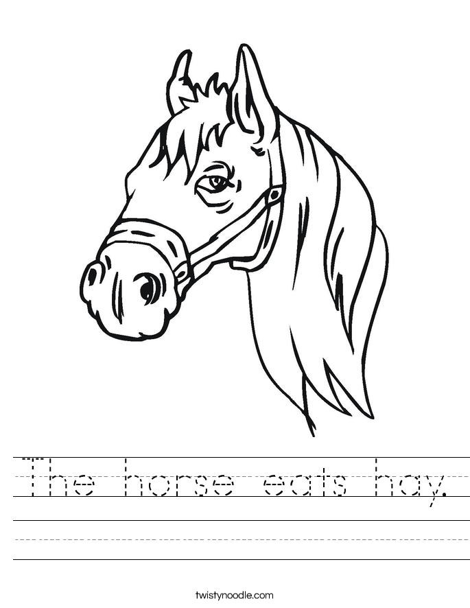 The horse eats hay. Worksheet