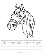 The horse eats hay Handwriting Sheet
